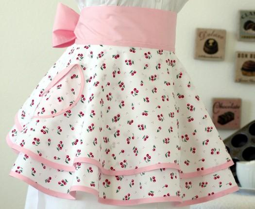Cherry vintage style apron