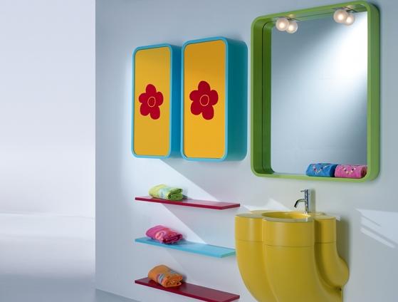 Blue Yellow Green Red Bathroom