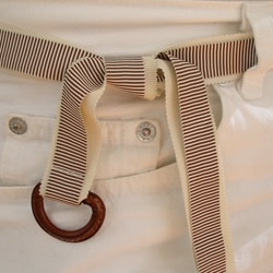 Brown and White Vintage Ribbon Belt by Jessie Chapman