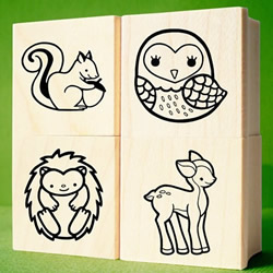 Forest Friends Rubber Stamps by nikoart