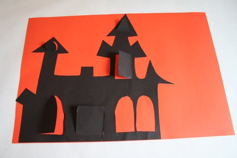 Glue Haunted House to paper