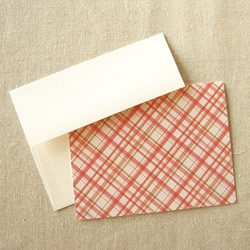 Pink and Creme Plaid Notecards by Olive Manna