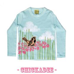 Block Printed Chickadee Shirt by 1girl1boy