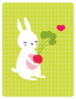Bunny and Radish print by yumiyumi