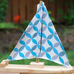 Cotton Circles Wooden Sailboat by Willowbaus