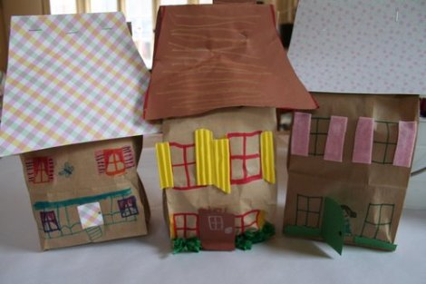 Preschool crafts for kids paper bag house craft for Brown paper bag crafts for preschoolers