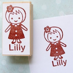 Girl Rubber Stamp by CraftPudding