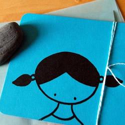 Set of 4 gocco print girl notecards by lovemonkey