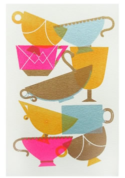 tea cups print by sollinero