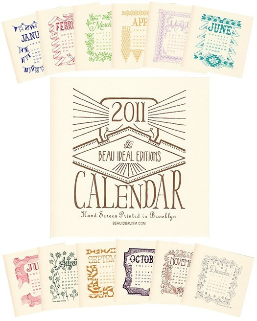illustrated 2011 calendar by Beau Ideal