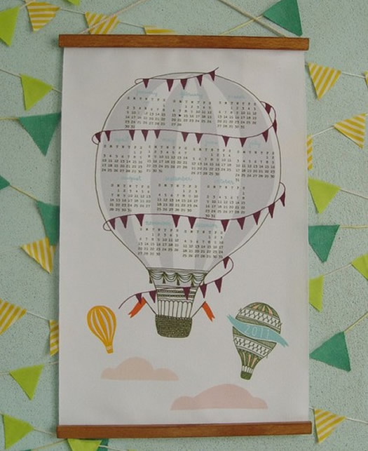 illustrated hot air balloon wall calendar by Lisa Rupp