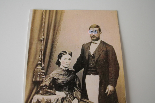 vintage wedding photo with googly eyes on groom