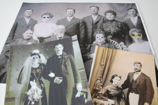 vintage photos with googly eyes glued to them.
