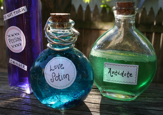 colorful potions jars for halloween decorations