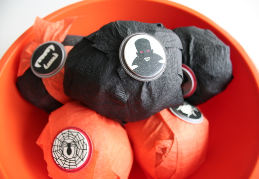 orange and black Halloween inspired surprise balls