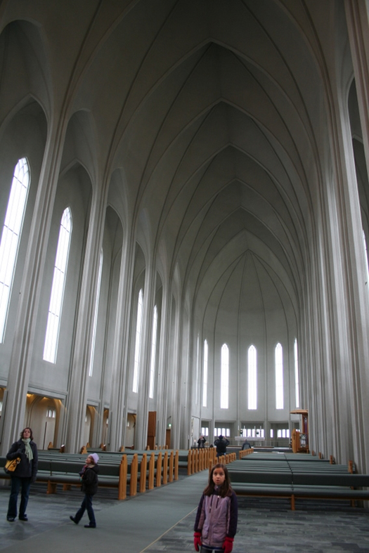 Interior of Hallgrimskirkja Church in Reykjavik Iceland
