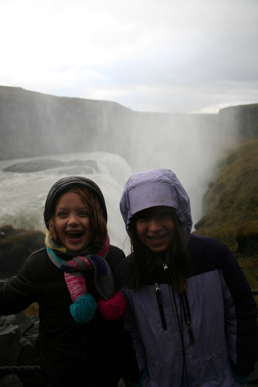 Girls in front of Gullfoss in Iceland