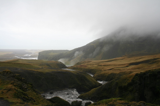 View from the top of Skogafoss in Iceland