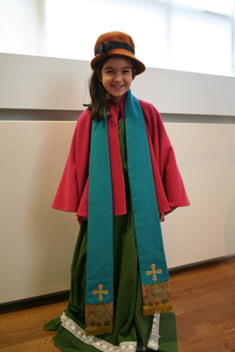 Elena dressed up in a costume at the National Museum of Iceland