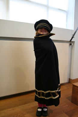 Rosa dressed up in a costume at the National Museum of Iceland