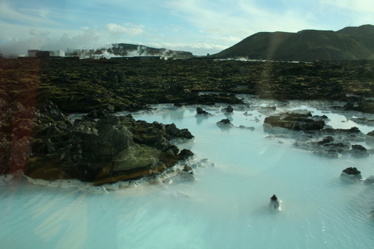 Milky blue hot springs near Blue Lagoon in Iceland
