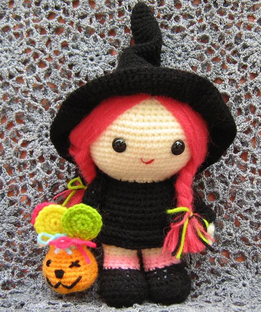 crocheted halloween witch doll