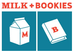Milk and Bookies cup and book logo