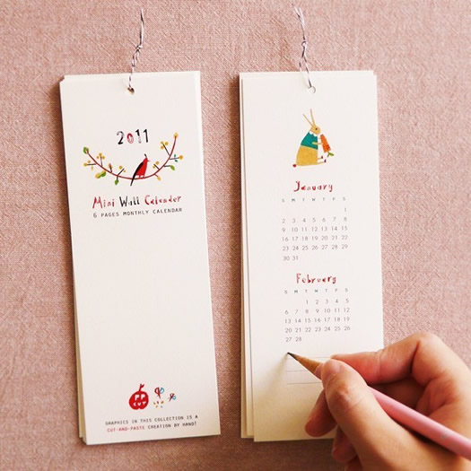 2011 wall calendar with small hand drawn illustrations by Furze Chan