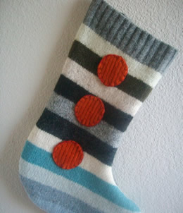 Elf Stripes Wool Stocking by M Rowe