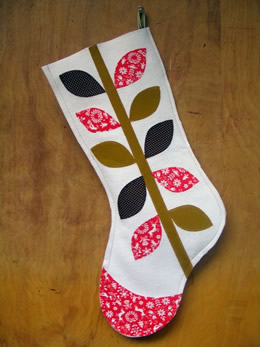 Holiday Vine Wool Felt Christmas stocking by Anna Joyce Designs