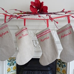 Personalized vintage linen Christmas stockings by polka dots and blooms