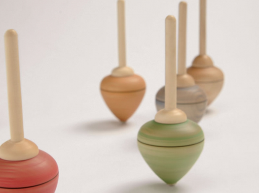 Pull string wooden tops by Mader