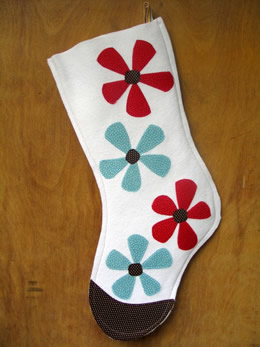 Winter Daisy White Felt Stocking by Anna Joyce Designs