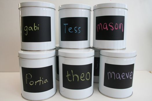Chalkboard tin birthday party favors by Charlotte's Fancy