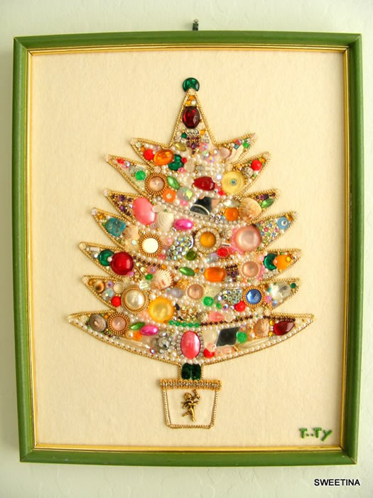 Holiday Crafts Made From Buttons http://charlottesfancy.com/2010/12/20/vintage-bling-christmas-decoration/