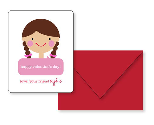 Sophie and Lili Printable Valentines Girl with Braids