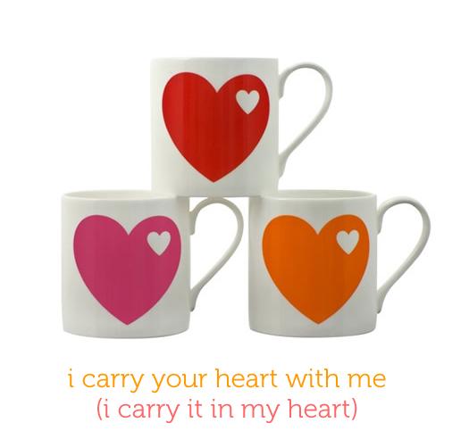Heart mugs from byGraziela with ee cummings poem