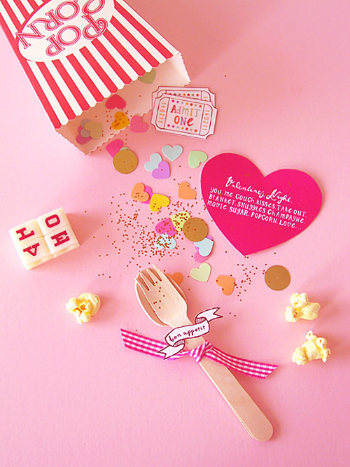 Popcorn valentine invitation by Eat Drink Chic