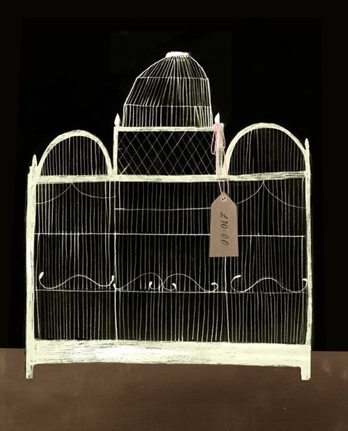 Antique Bird cage digital print by Clare Owen