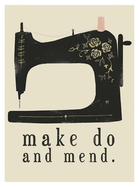 Make do and mend digital print by Clare Owen