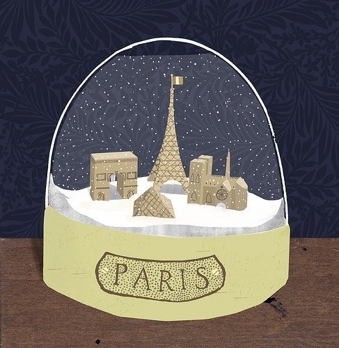 Paris snow globe digital print by Clare Owen