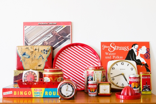 Vintage items in red photo by Hilda Grahnat