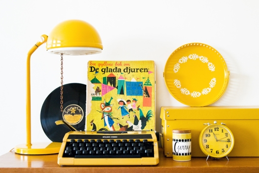 Vintage items in yellow photo by Hilda Grahnat