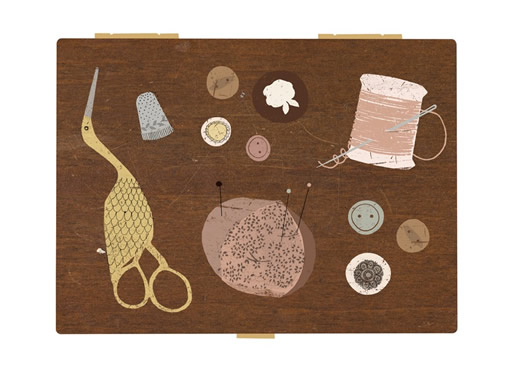 Vintage sewing kit digital print by Clare Owen
