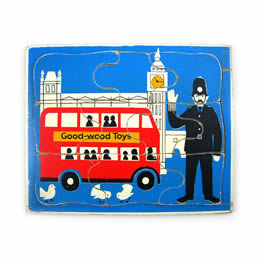 Wooden London Bus Puzzle by Wooden Donkey Vintage