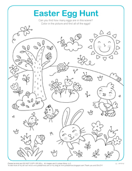 Easter Egg hunt coloring page by Julissa Mora