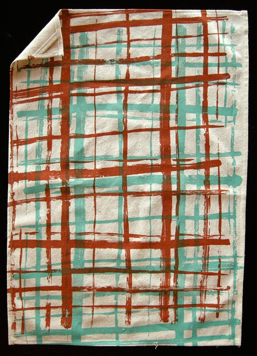 Cinammon and Jade stripe screen print tea towel by Sara Lee Parker
