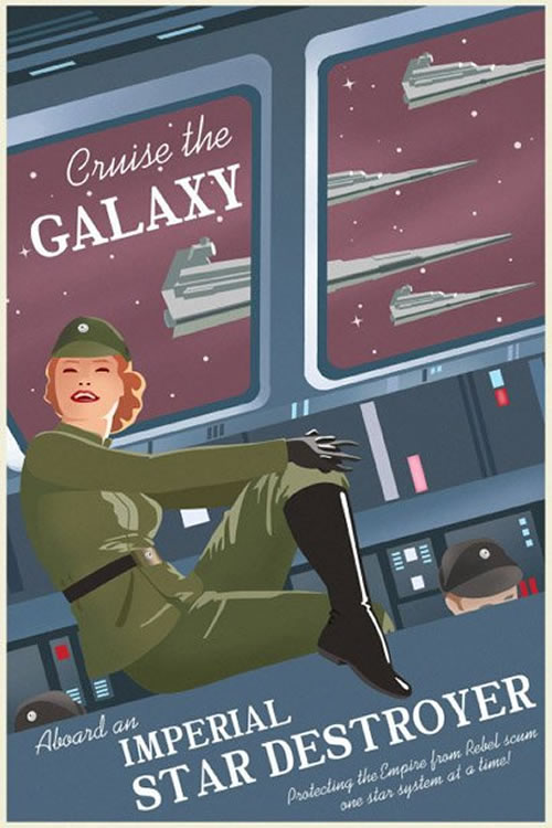 Cruise the galaxy propaganda poster