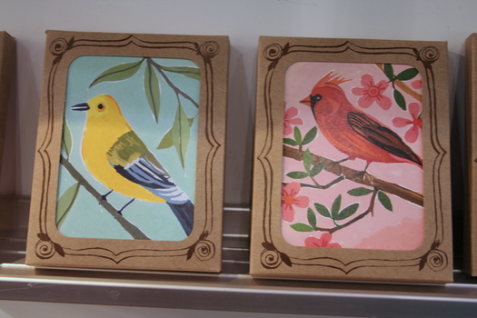 Handpainted bird notecards by Ecojot