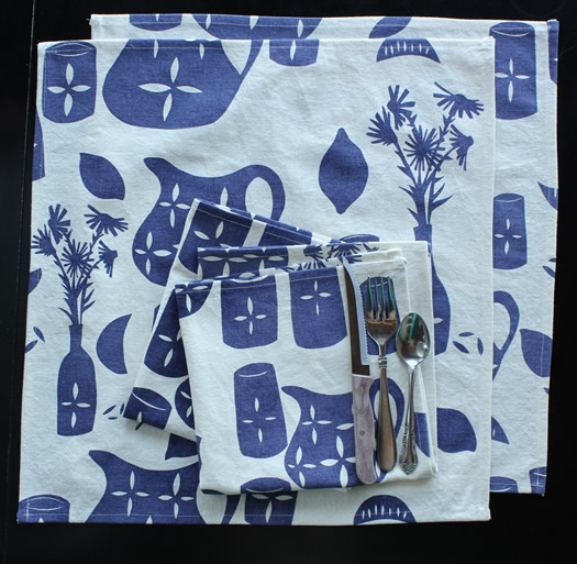 Lemonade napkins in blueberry by Sara Lee Parker